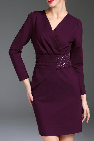 Outfits V Neck Rhinestone Long Sleeve Sheath Work Dress PURPLE XL