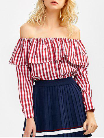 Fancy Off The Shoulder Gingham Blouse