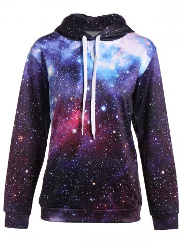 Sweat à poche kangourou à motifs galaxie Multicolore 2XL