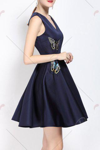 Best V Neck Embroidered Fit and Flare Dress - M PURPLISH BLUE Mobile