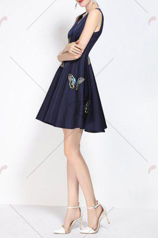 Fancy V Neck Embroidered Fit and Flare Dress - M PURPLISH BLUE Mobile