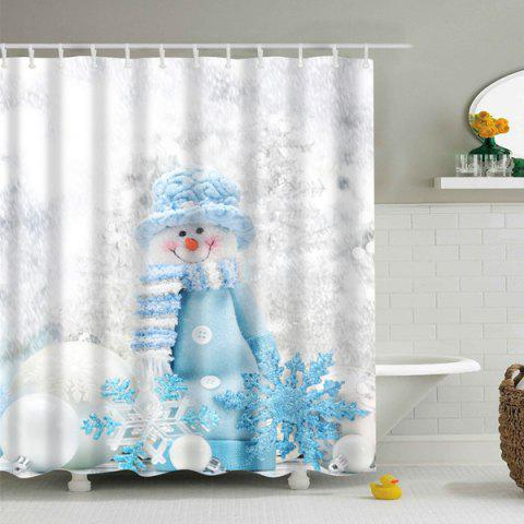 Cheap Polyester Waterproof Winter Snowman Bath Shower Curtain - L GREY WHITE Mobile