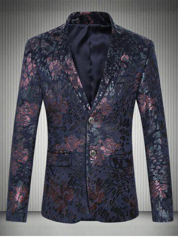 Plus Size Lapel Floral Printed Single Breasted Design Blazer - WINE RED - 5XL