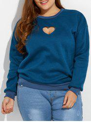 Cut Out Heart Pullover Sweatshirt - DEEP BLUE