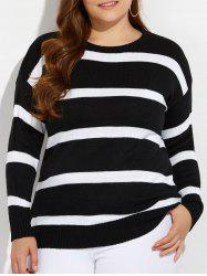 Plus Size Vertical Striped Knitwear