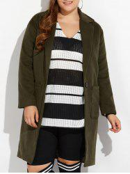 Plus Size Long Wool Coat with Pockets -