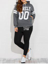 Hooded Varsity Striped Graphic Print Sporty Suit - BLACK AND GREY