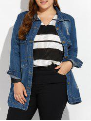 Plus Size Distressed Button Up Denim Coat - DEEP BLUE