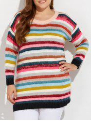Plus Size Multicolor Striped Sweater