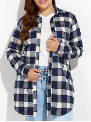 Plus Size Plaid Button Up Long Flannel Shirt