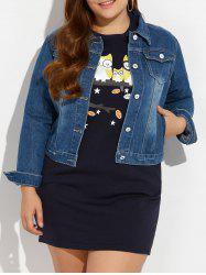Plus Size Buttoned Pocket Design Jean Jacket