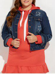 Plus Size Buttoned Star Graphic Jean Jacket