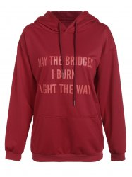 Letter Print Pullover Drawstring Hooded Tee