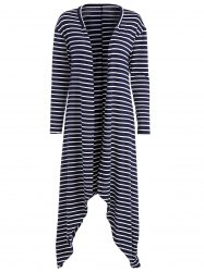 Stripe Asymmetrical Duster Coat