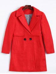 Lapel Two Buckle Plus Size Wool Coat