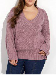 Plus Size Cable Knit Drop Shoulder Sweater - RUSSET-RED