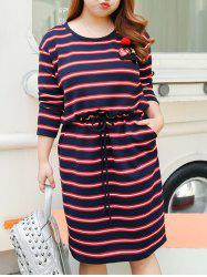Plus Size Drawstring Stripe Sweat Dress