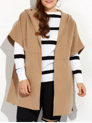 Hooded Open Front Cape Coat