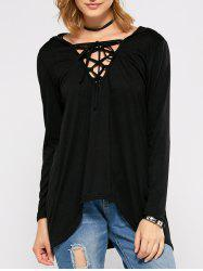 Hooded Lace Up High Low T-Shirt -
