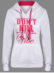 Letter Print Front Pocket Pullover Hoodie - WHITE 2XL