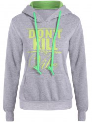 Letter Print Front Pocket Pullover Hoodie