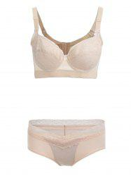Push Up Lace Insert See Thru Bra Set