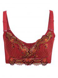 Wire Free Embroidery Padded Bra - WINE RED 85D