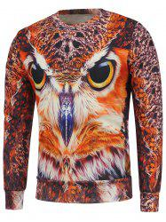 Fleece Lining Owl 3D Printed Crew Neck Sweatshirt