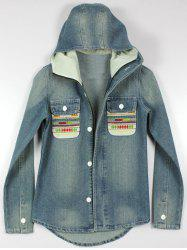 Button Up Denim Jacket with Hood -