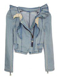 Side Zip Cropped Denim Jacket -