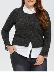 Faux Twinset Long Sleeve Blouse
