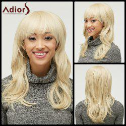 Fluffy Light Blonde Trendy Natural Wave Full Bang Long Heat Resistant Synthetic Capless Wig For Women