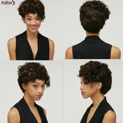 Shaggy Kinky Curly Black Brown Mixed Synthetic Trendy Short Side Bang Wig For Women