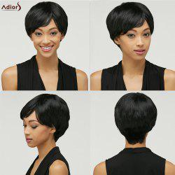 Spiffy Short Black Synthetic Fashion Natural Straight Side Bang Capless Wig For Women