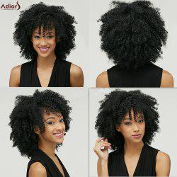Adiors Fashion Medium Capless Fluffy Afro Curly Heat Resistant Fiber Wig For Women - BLACK