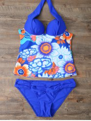 Halter Floral Underwire Padded Push Up Tankini