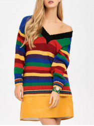 V Neck Striped Loose Sweater - BLUE ONE SIZE