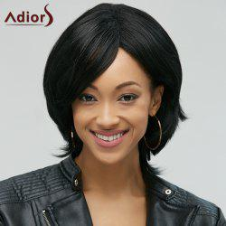 Adiors Stylish Black Side Bang Synthetic Fluffy Medium Natural Straight Women's Wig - BLACK