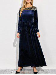 Velvet Formal A Line Evening Maxi Dress with Sleeves