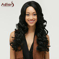 Fashion Long Side Bang Capless Fluffy Curly Black Synthetic Wig For Women - BLACK