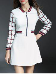 Half Zipper Grid A Line Dress
