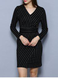 V Neck Long Sleeve Striped Dress -