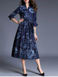 Midi Denim Print Work A Line Dress - DENIM BLUE XL