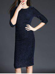 Knee Length Sequined Sheath Dress - PURPLISH BLUE 3XL