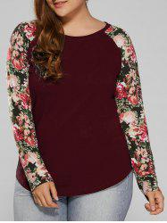 Plus Size Floral Raglan Full Sleeve T-Shirt -