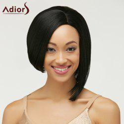 Short Straight Side Parting Capless Heat Resistant Fiber Wig - BLACK