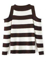 Cold Shoulder Striped Sweater -