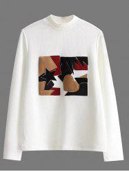 High Neck Patch Pullover Ribbed Sweater - WHITE L