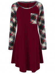 Plaid Trim Single Pocket Tee Dress - BURGUNDY L
