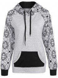 Casual Drawstring Tribal Print Hoodie - GRAY XL